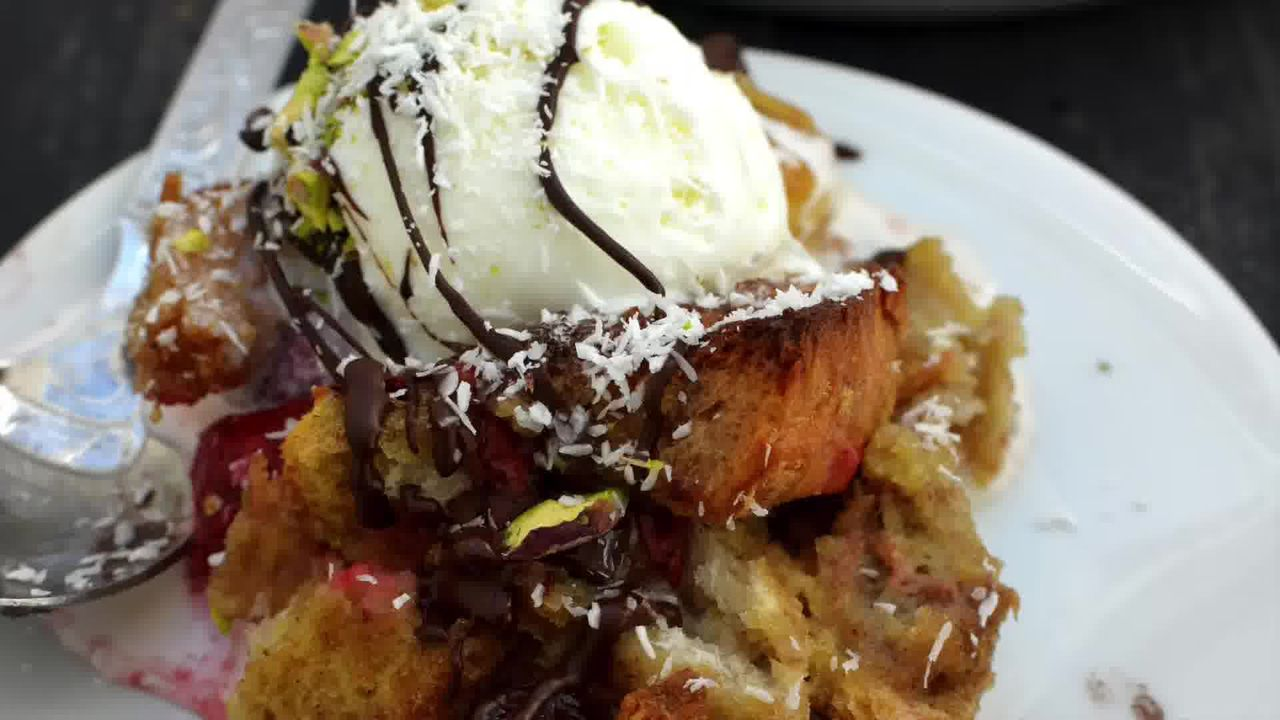 Image of the cooking step-1-12 for Banana Strawberry Bread Pudding (Video)