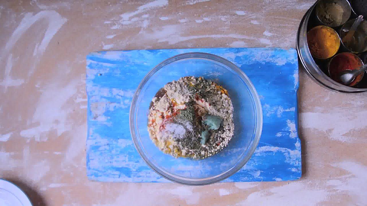 Image of the cooking step-1-1 for Rajasthani Gatta Curry Recipe - Besan Ke Gatte Ki Sabzi