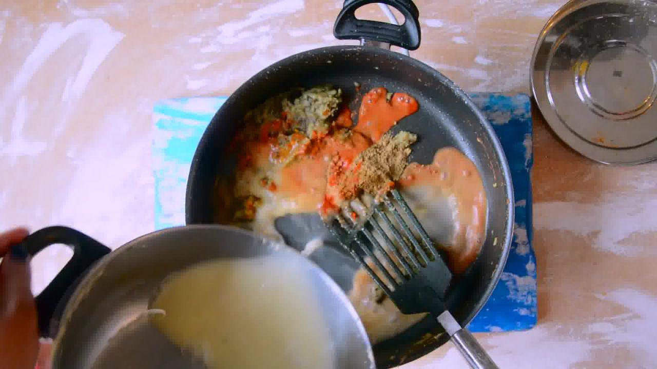 Image of the cooking step-2-5 for Rajasthani Gatta Curry Recipe - Besan Ke Gatte Ki Sabzi