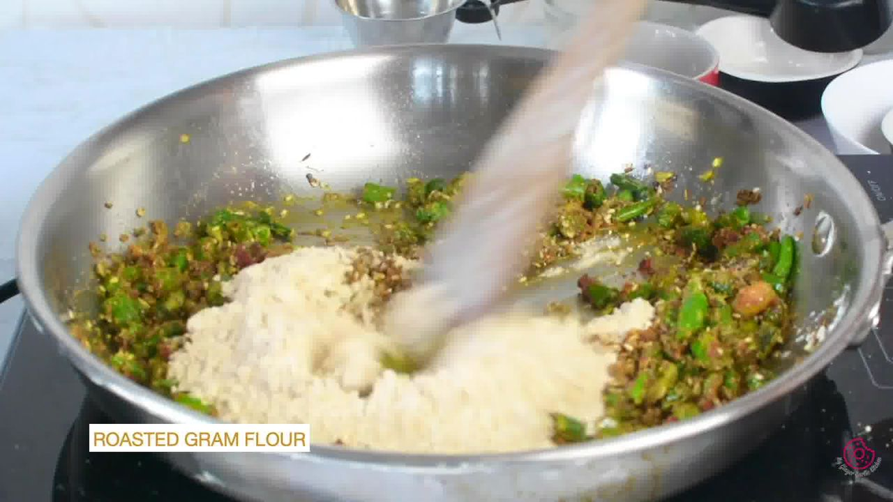 Image of the cooking step-1-9 for Besan Mirchi Ke Tipore - Garm Flour Green Chili Stir-Fry
