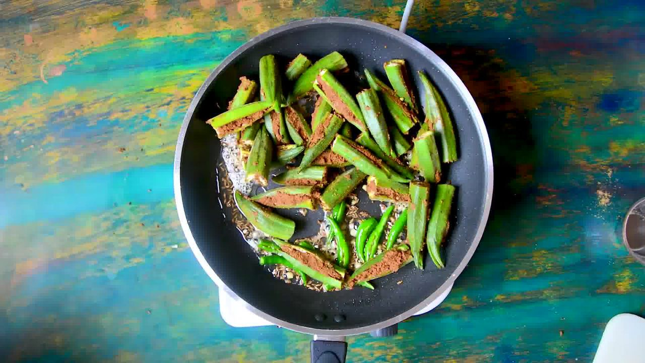 Image of the cooking step-3-5 for Bharwa Bhindi - Stuffed Okra