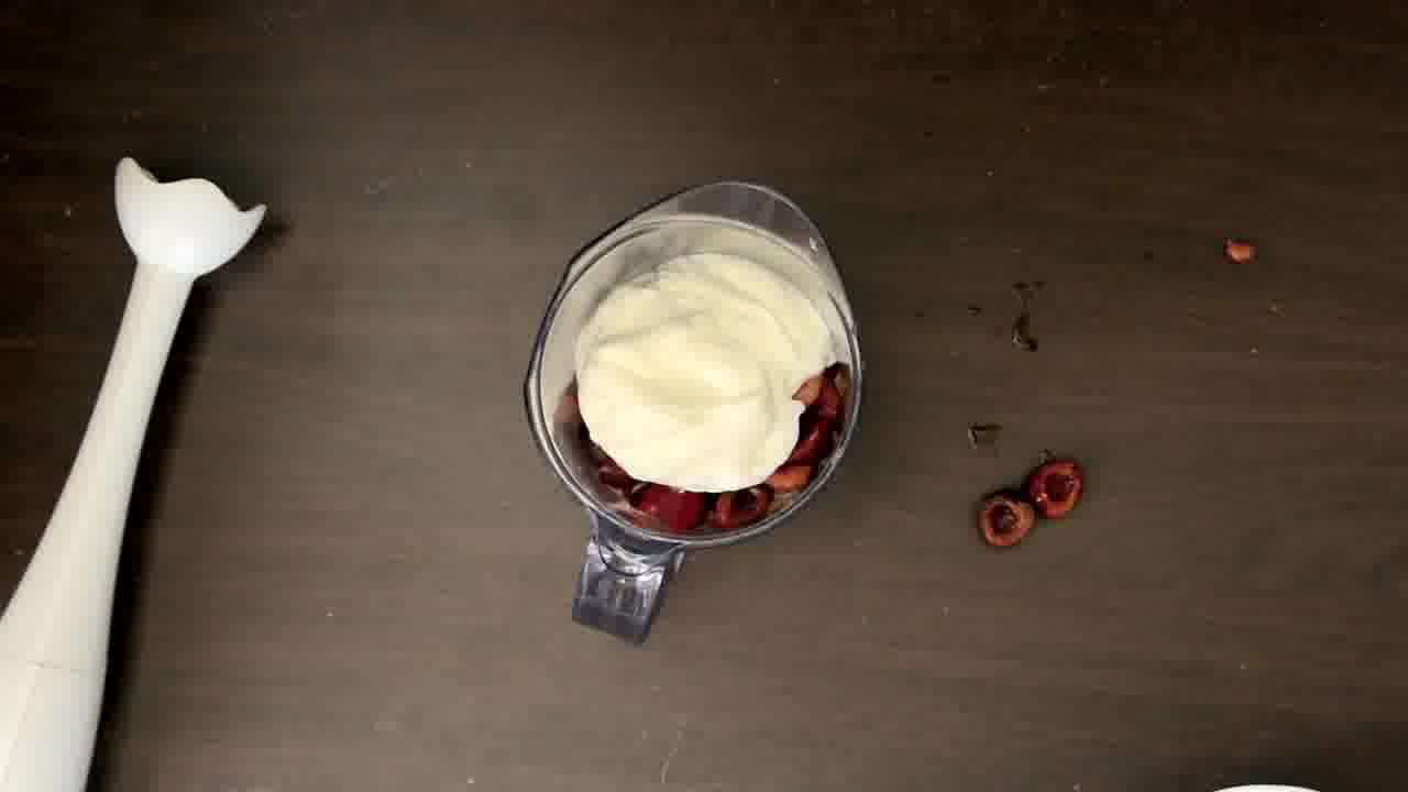 Image of the cooking step-1-1 for Classic and Easy Cherry Lassi Ice Cream (Video Recipe)