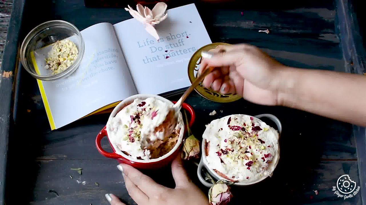 Image of the cooking step-1-8 for Eggless Gulkand Mug Cake in 2 Minutes - Rose Mug Cake