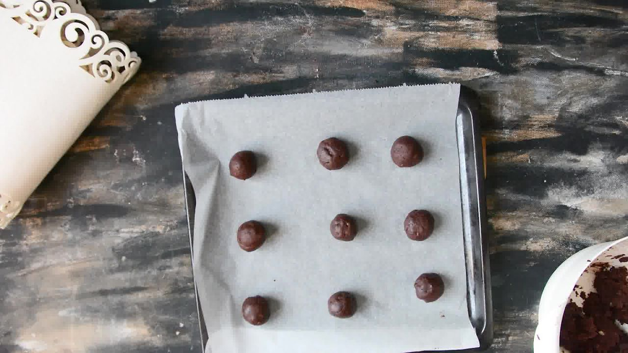 Image of the cooking step-1-7 for Eggless Triple Chocolate Cookies Recipe