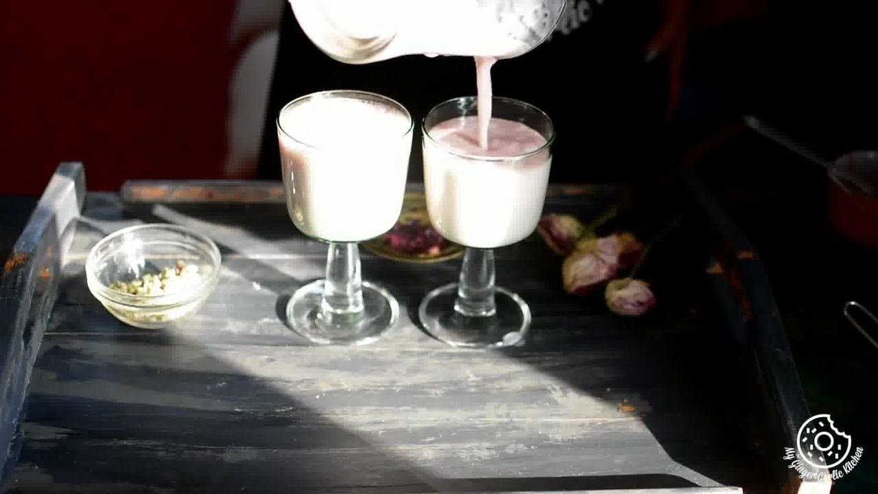 Image of the cooking step-1-3 for Gulkand Lassi Recipe - How To Make Rose Lassi