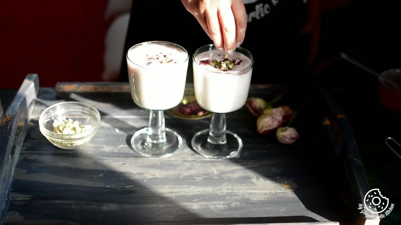 Image of the cooking step-1-4 for Gulkand Lassi Recipe - How To Make Rose Lassi