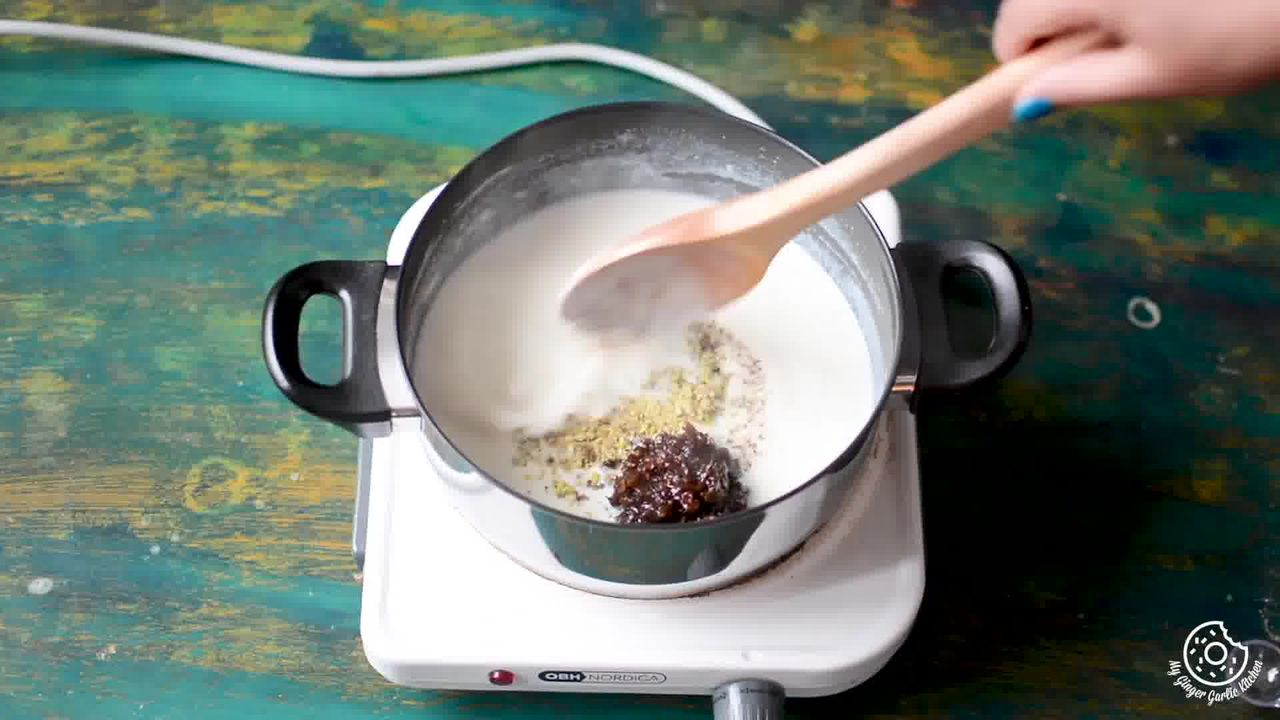 Image of the cooking step-1-7 for Gulkand Pista Kulfi - Rose and Pistachio Frozen Dessert