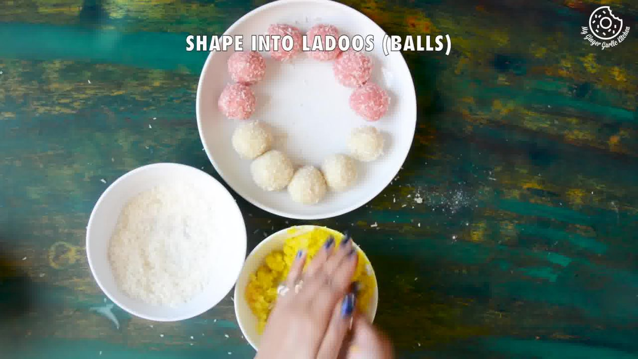 Image of the cooking step-2-4 for Instant Coconut Ladoo Recipe (Rose, Saffron, Cardamom)
