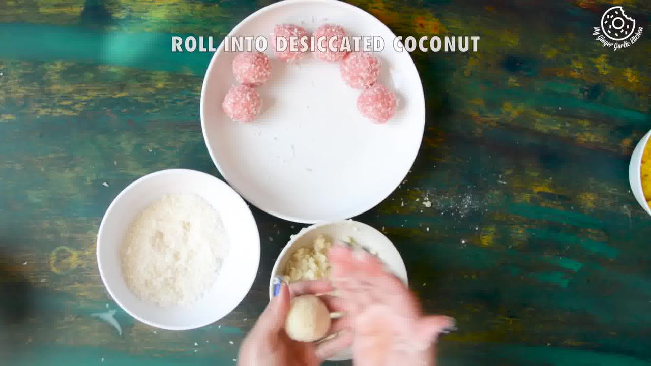 Image of the cooking step-4-2 for Instant Coconut Ladoo Recipe (Rose, Saffron, Cardamom)
