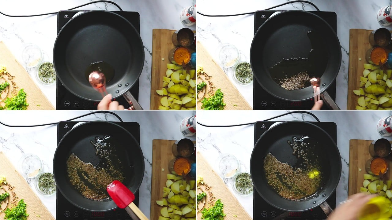 Image of the cooking step-1-3 for Jeera Aloo