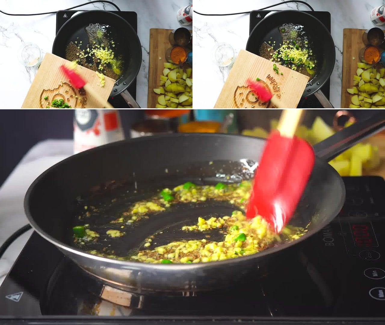 Image of the cooking step-1-4 for Jeera Aloo