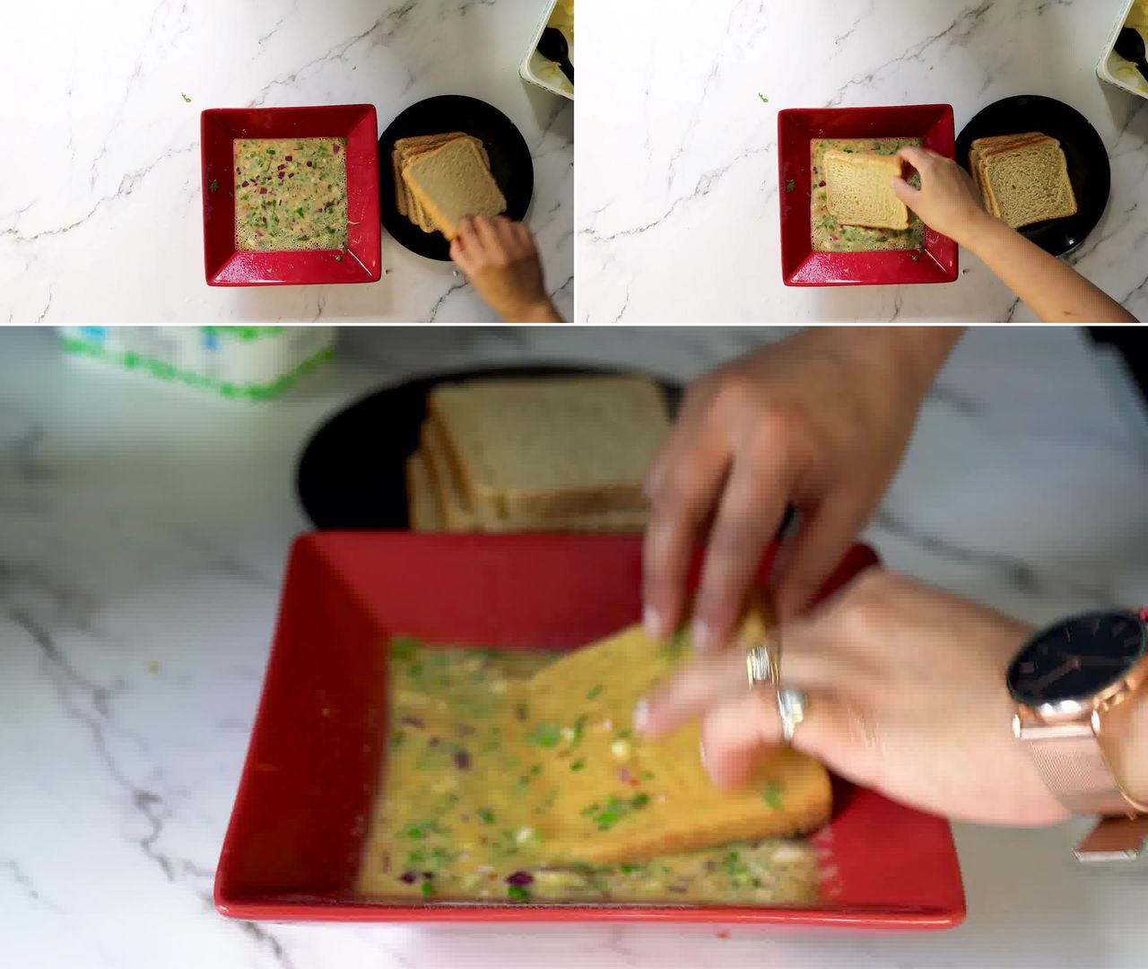 Image of the cooking step-2-2 for Masala French Toast