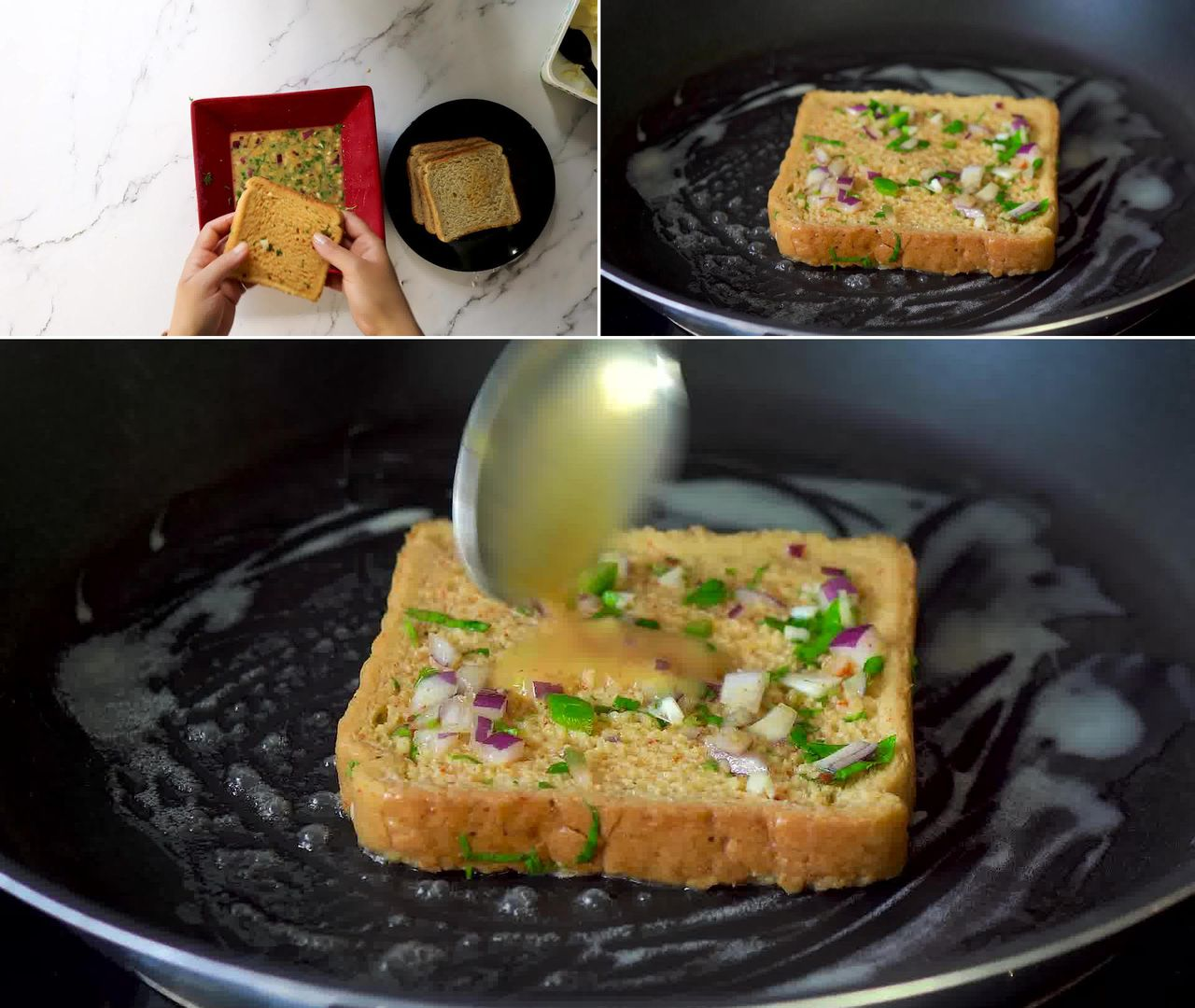 Image of the cooking step-2-3 for Masala French Toast