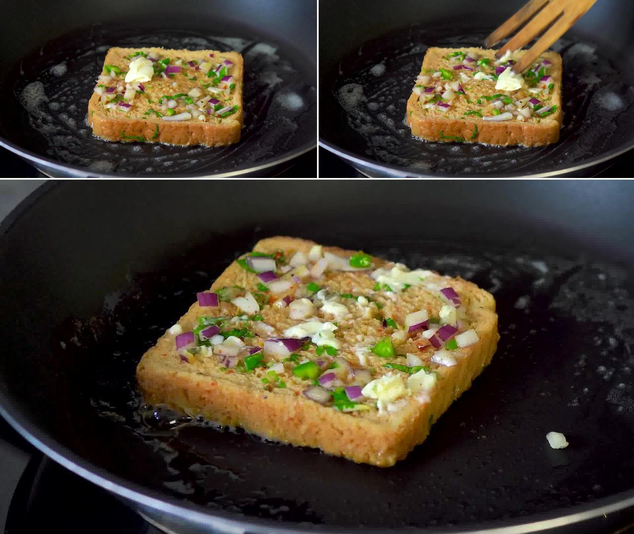 Image of the cooking step-2-4 for Masala French Toast