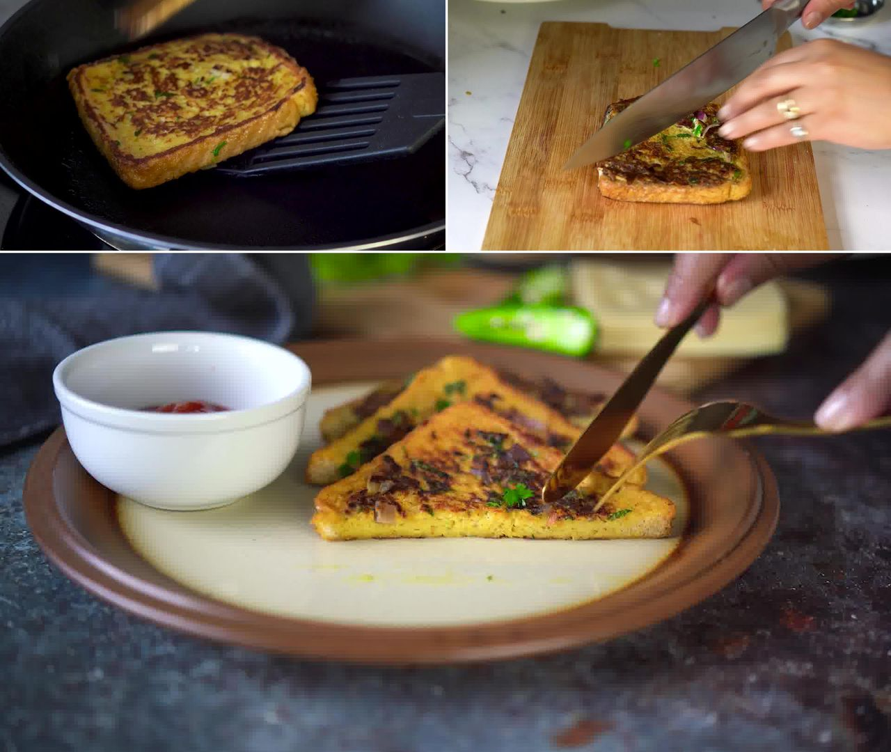 Image of the cooking step-2-6 for Masala French Toast