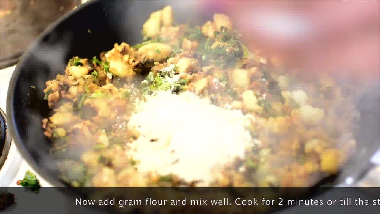 Image of the cooking step-1-8 for Mushroom Kale Stuffed Paratha (Video)