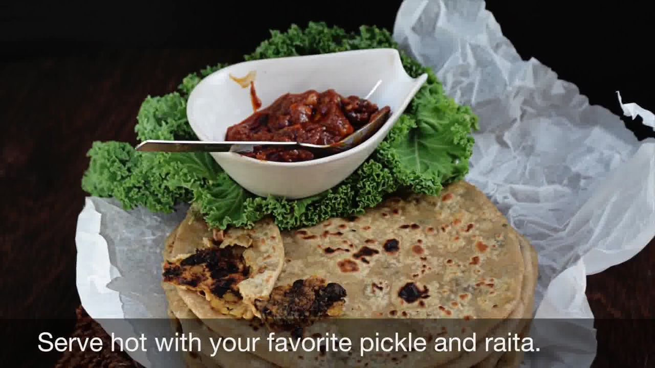 Image of the cooking step-3-10 for Mushroom Kale Stuffed Paratha (Video)