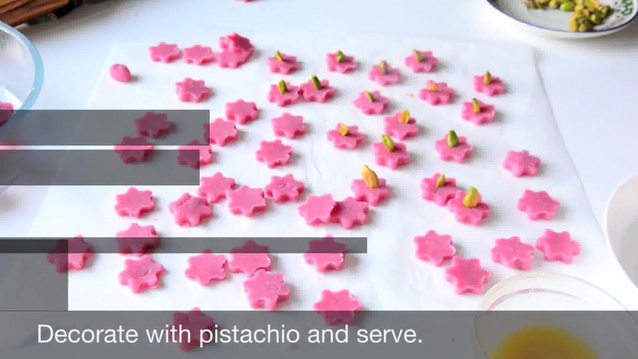 Image of the cooking step-1-10 for No Bake Almond Flower Cookies - Badam Katli