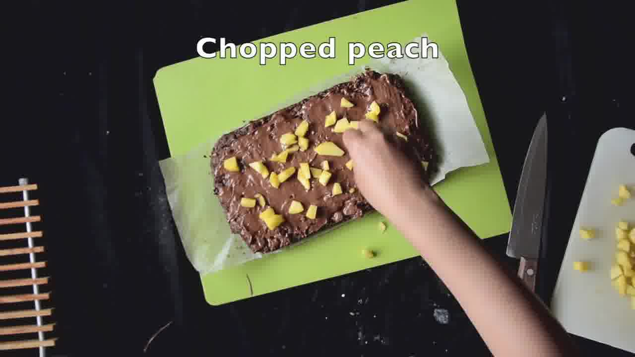 Image of the cooking step-1-13 for Eggless Peach Chocolate Brownies