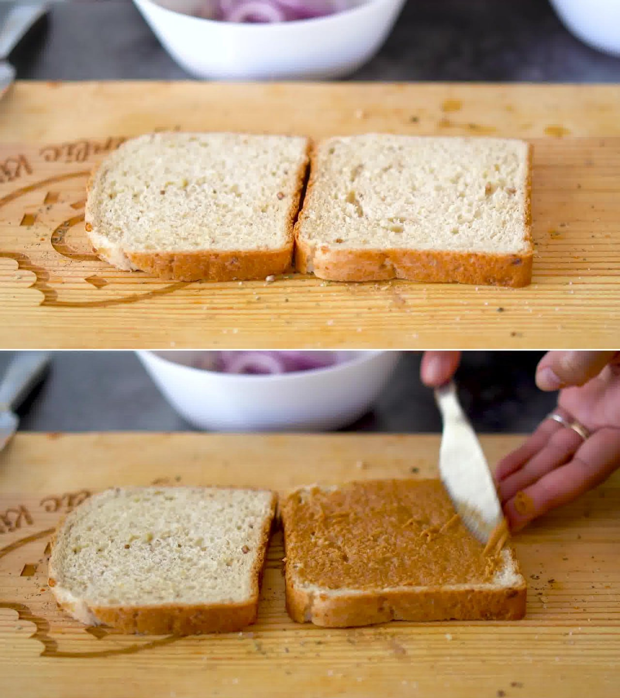 Image of the cooking step-1-2 for Peanut Butter and Veggie Grilled Cheese Sandwich
