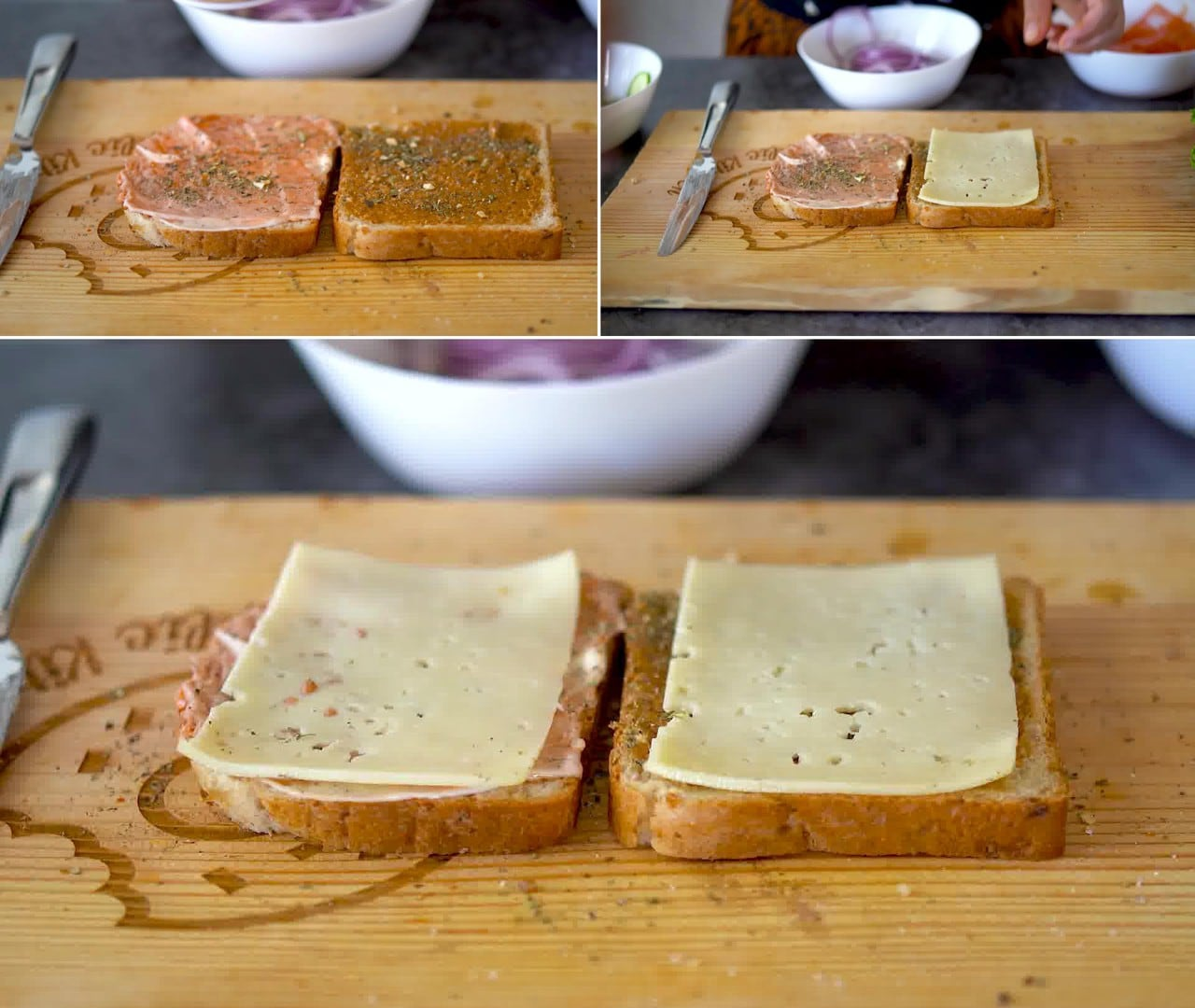 Image of the cooking step-1-4 for Peanut Butter and Veggie Grilled Cheese Sandwich