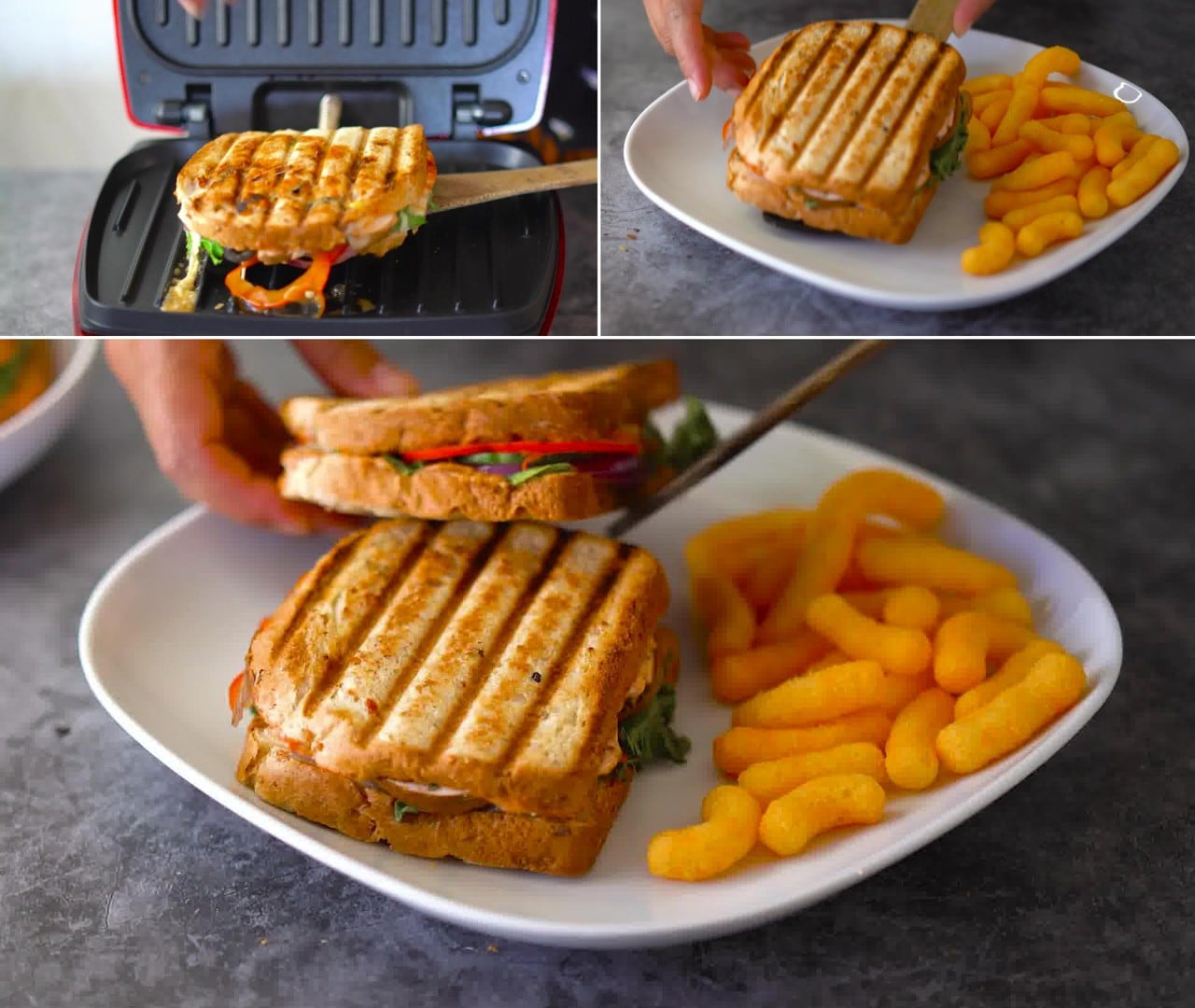 Image of the cooking step-1-9 for Peanut Butter and Veggie Grilled Cheese Sandwich