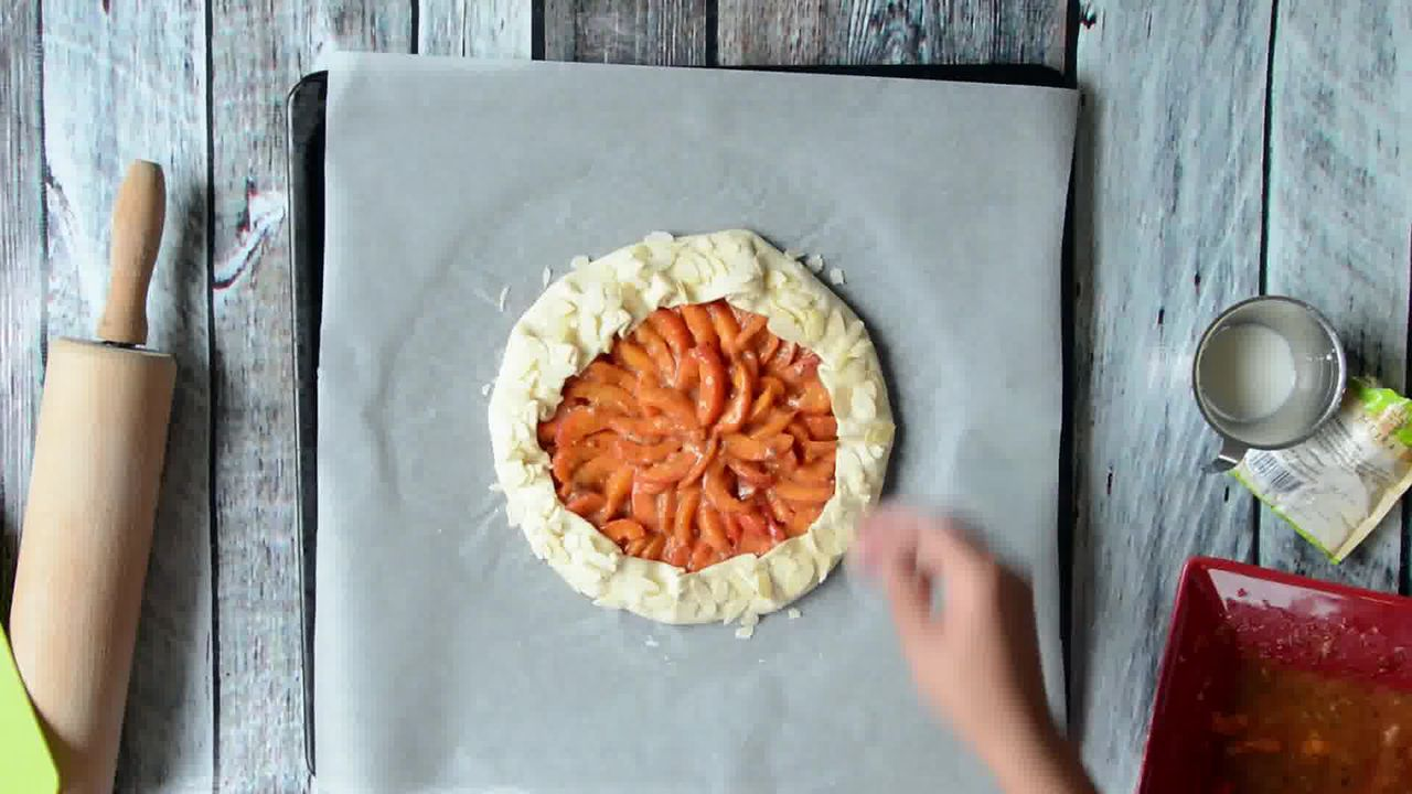 Image of the cooking step-1-9 for Puff Pastry Apricot Galette with Almond Topping