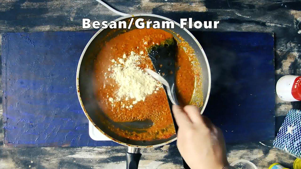 Image of the cooking step-3-5 for Besan Ke Cheele Ki Sabzi - Chickpea Pancake Curry