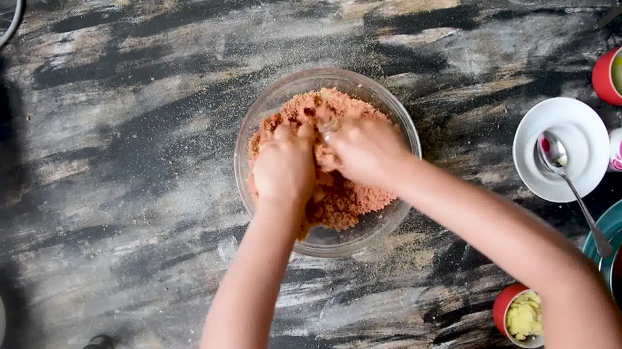 Image of the cooking step-4-5 for Rajasthani Gulab Churma Recipe - Rose Choorma Without Oven