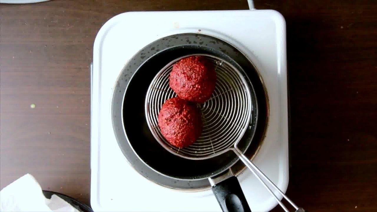 Image of the cooking step-3-8 for Roast Beetroot Falafel Recipe + Green Tahini Dip