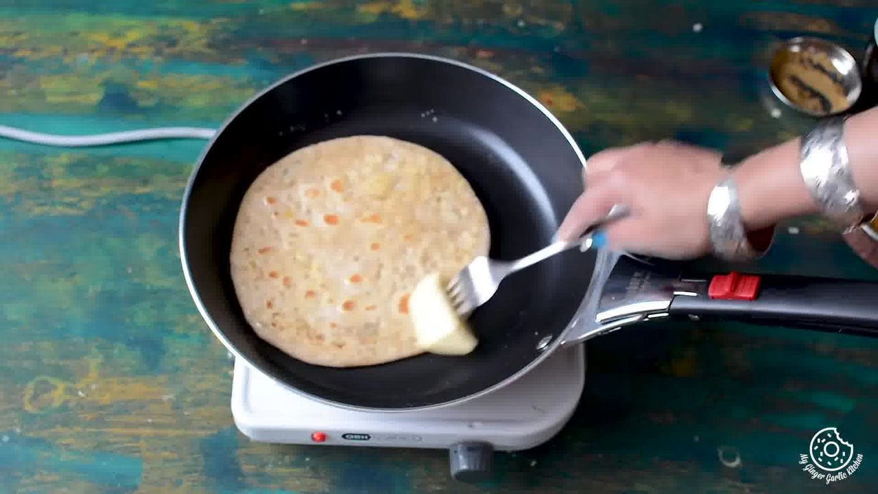 Image of the cooking step-3-7 for Sev Stuffed Paratha Recipe - How To Make Bhujia Paratha