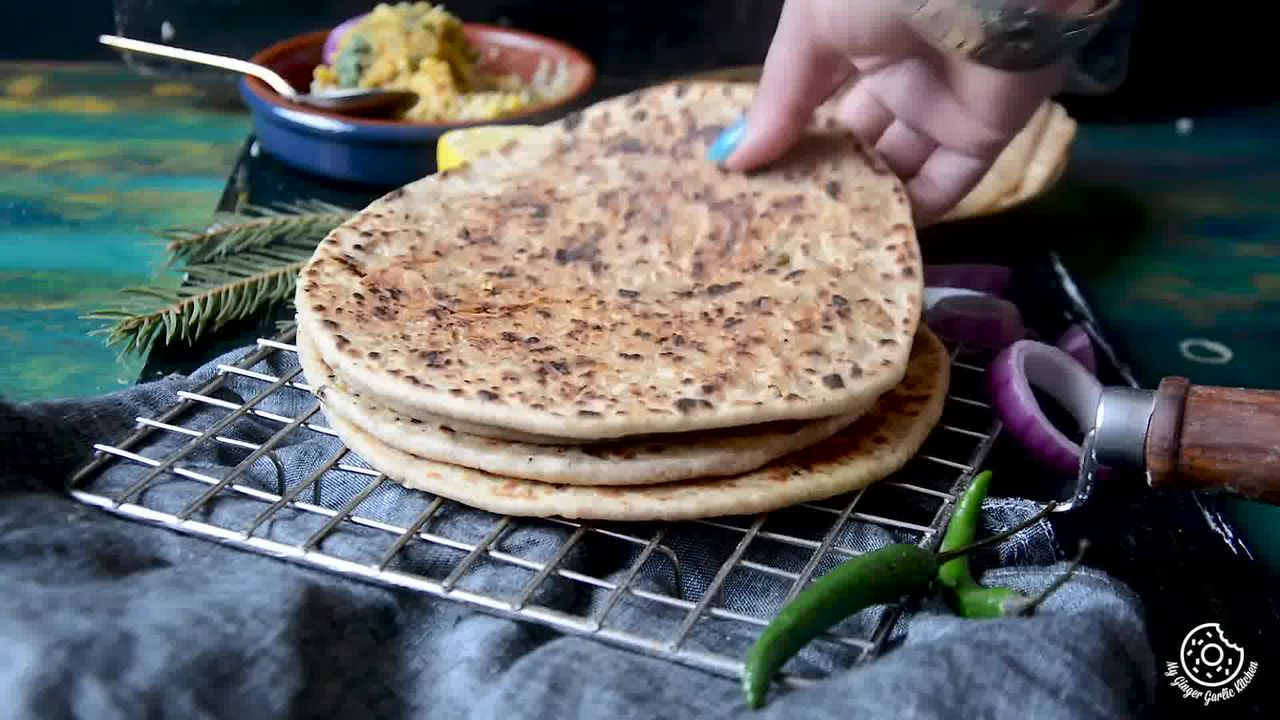 Image of the cooking step-3-9 for Sev Stuffed Paratha Recipe - How To Make Bhujia Paratha