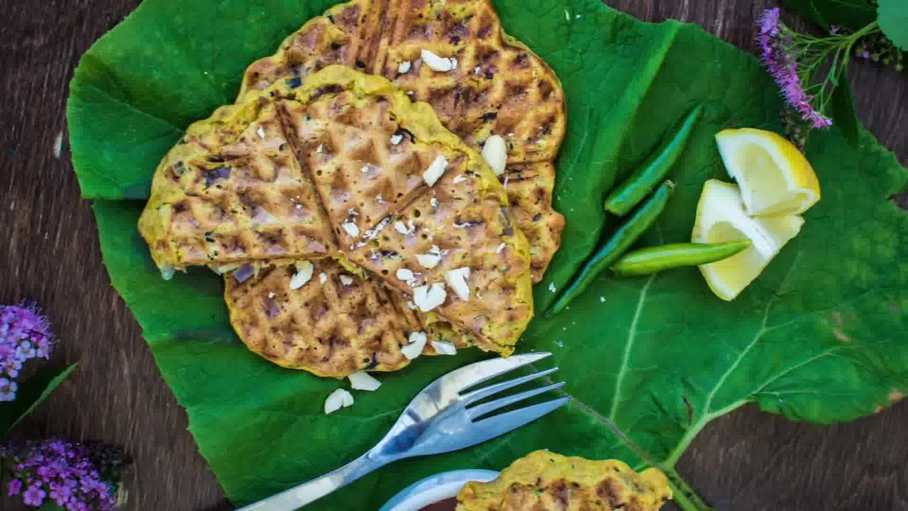 Image of the cooking step-1-9 for Spicy Zucchini Waffles - How to Make Waffled Besan Chilla