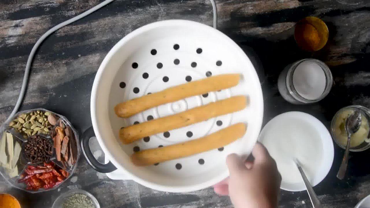 Image of the cooking step-1-9 for Steamed Besan Gatte Ki Sabzi - Rajasthani Adhar Bele