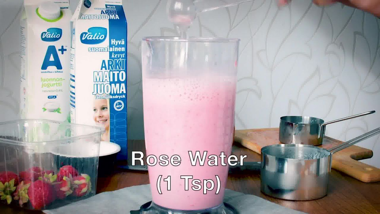 Image of the cooking step-1-5 for Strawberry Lassi Recipe - Strawberry Yogurt Smoothie