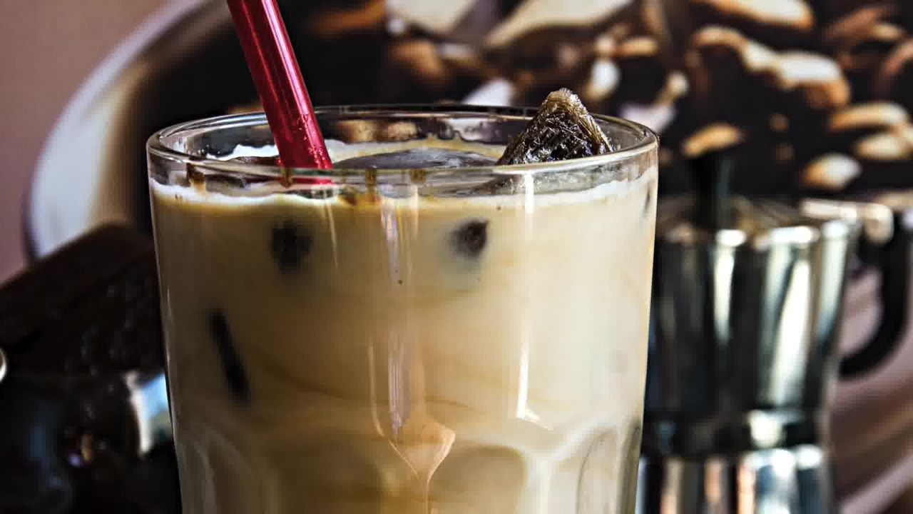 Image of the cooking step-1-7 for Vanilla Iced Mocha With Coffee Ice Cubes (Video)