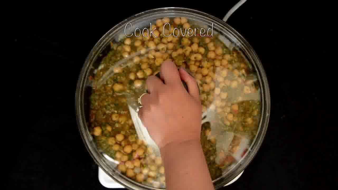 Image of the cooking step-1-5 for Mint Chickpea Cornmeal Tart - Pudina Chola (Zero Oil)