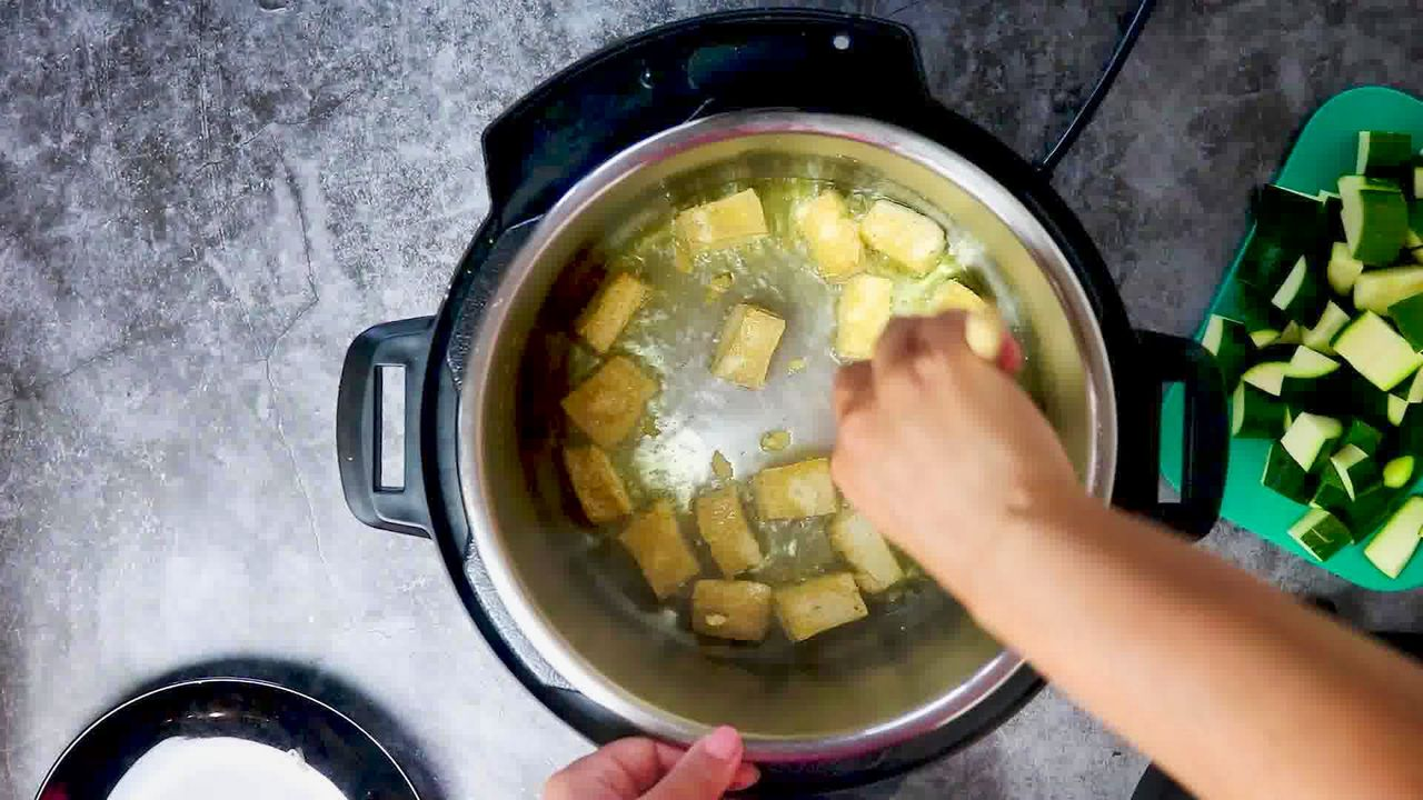 Image of the cooking step-1-3 for Zucchini Tofu Curry (Instant Pot + Stovetop)