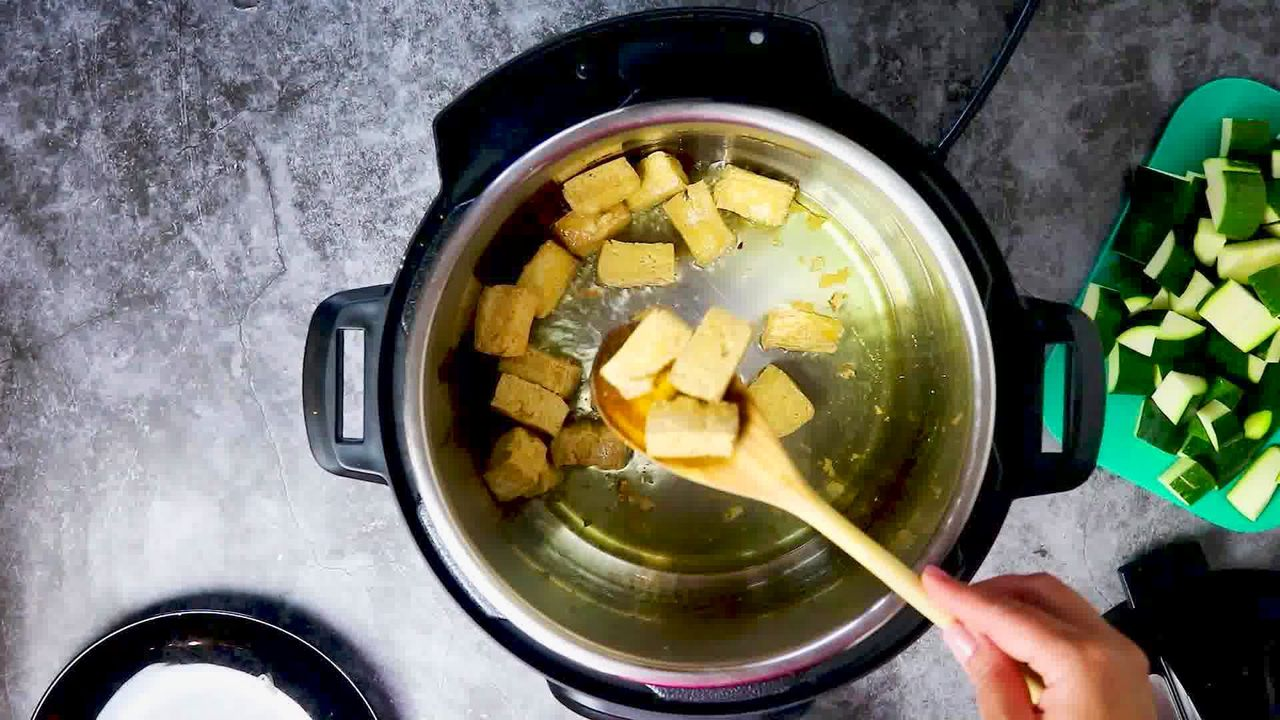 Image of the cooking step-1-4 for Zucchini Tofu Curry (Instant Pot + Stovetop)