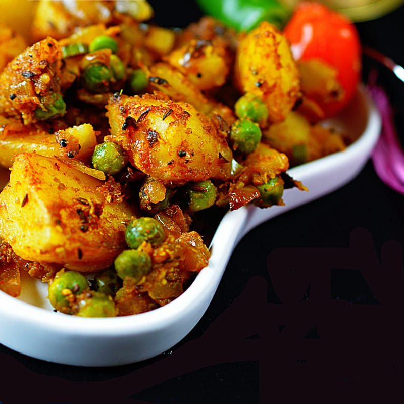 Aloo Matar Dry Sabji Potato Peas Stir Fry