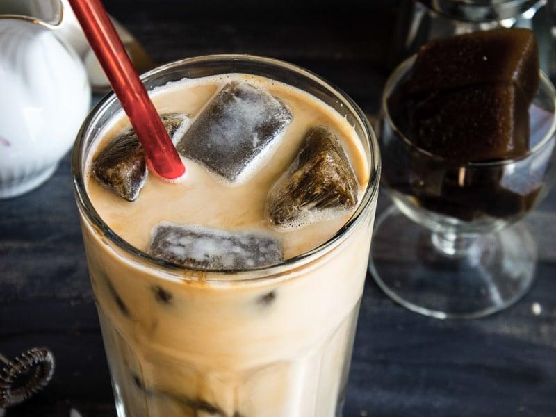 Vanilla Iced Mocha With Coffee Ice Cubes Video