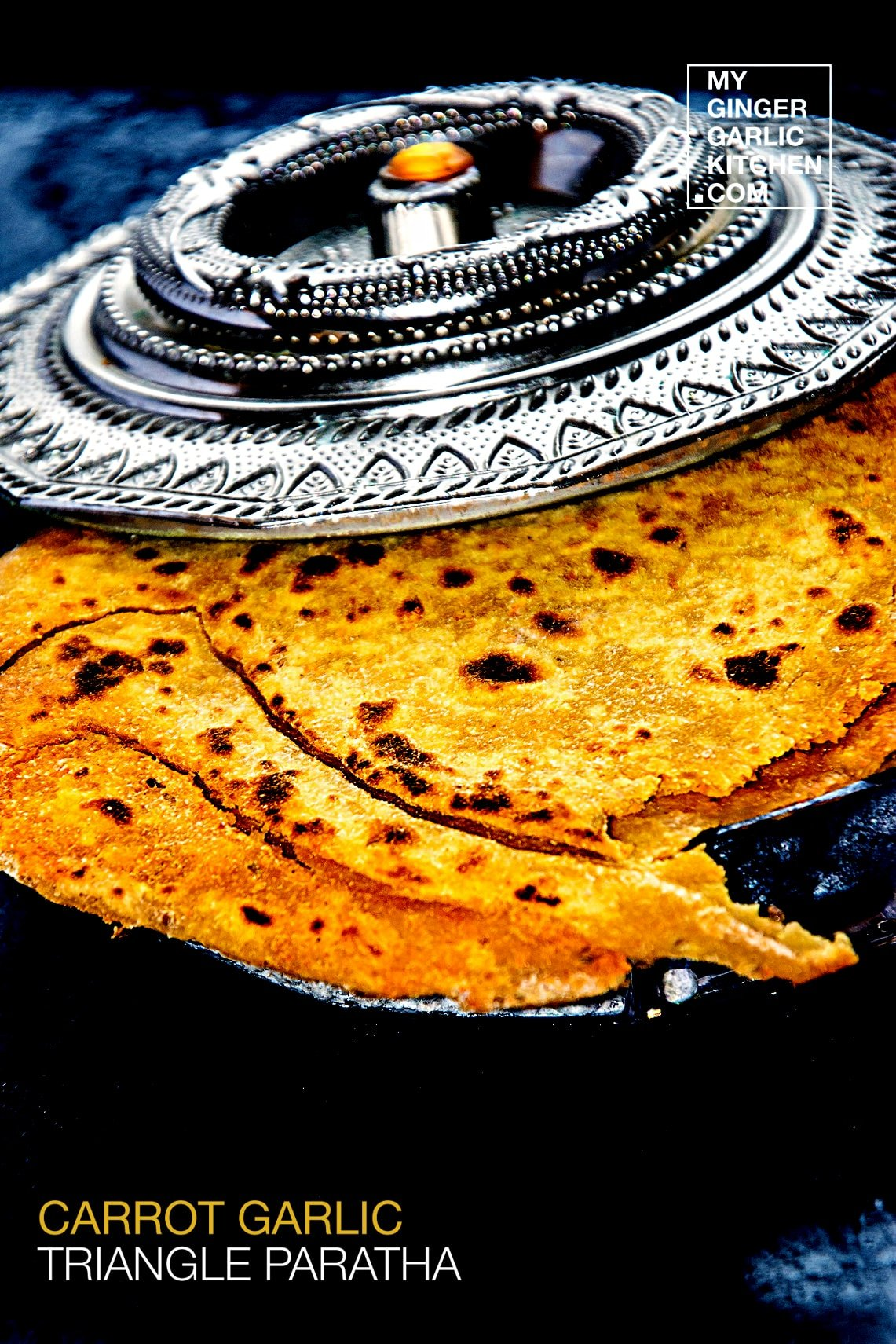 Image of Carrot Garlic Triangle Paratha – Carrot garlic Flatbread