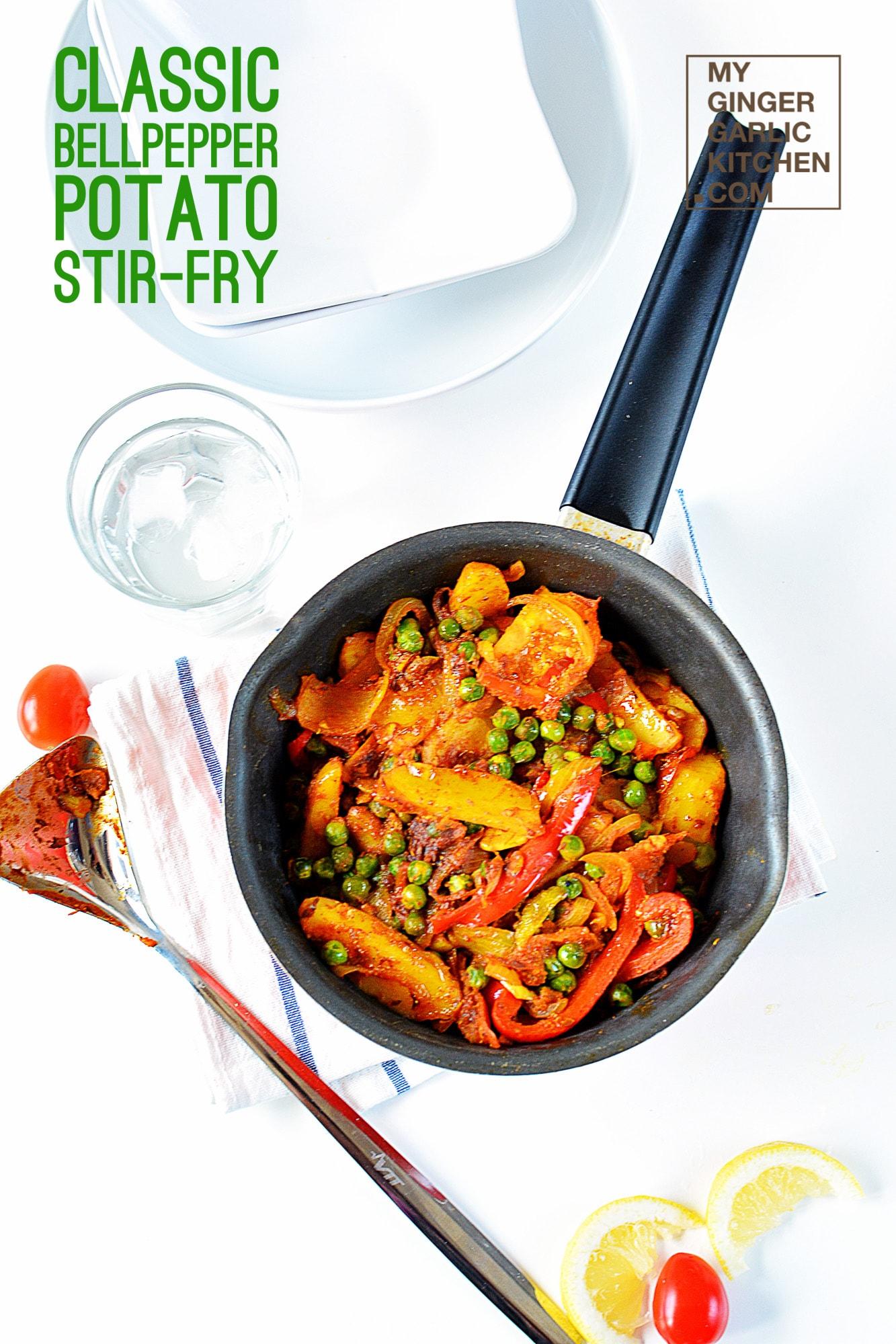 Image - recipe classic bellpepper potato peas stir fry anupama paliwal my ginger garlic kitchen 3