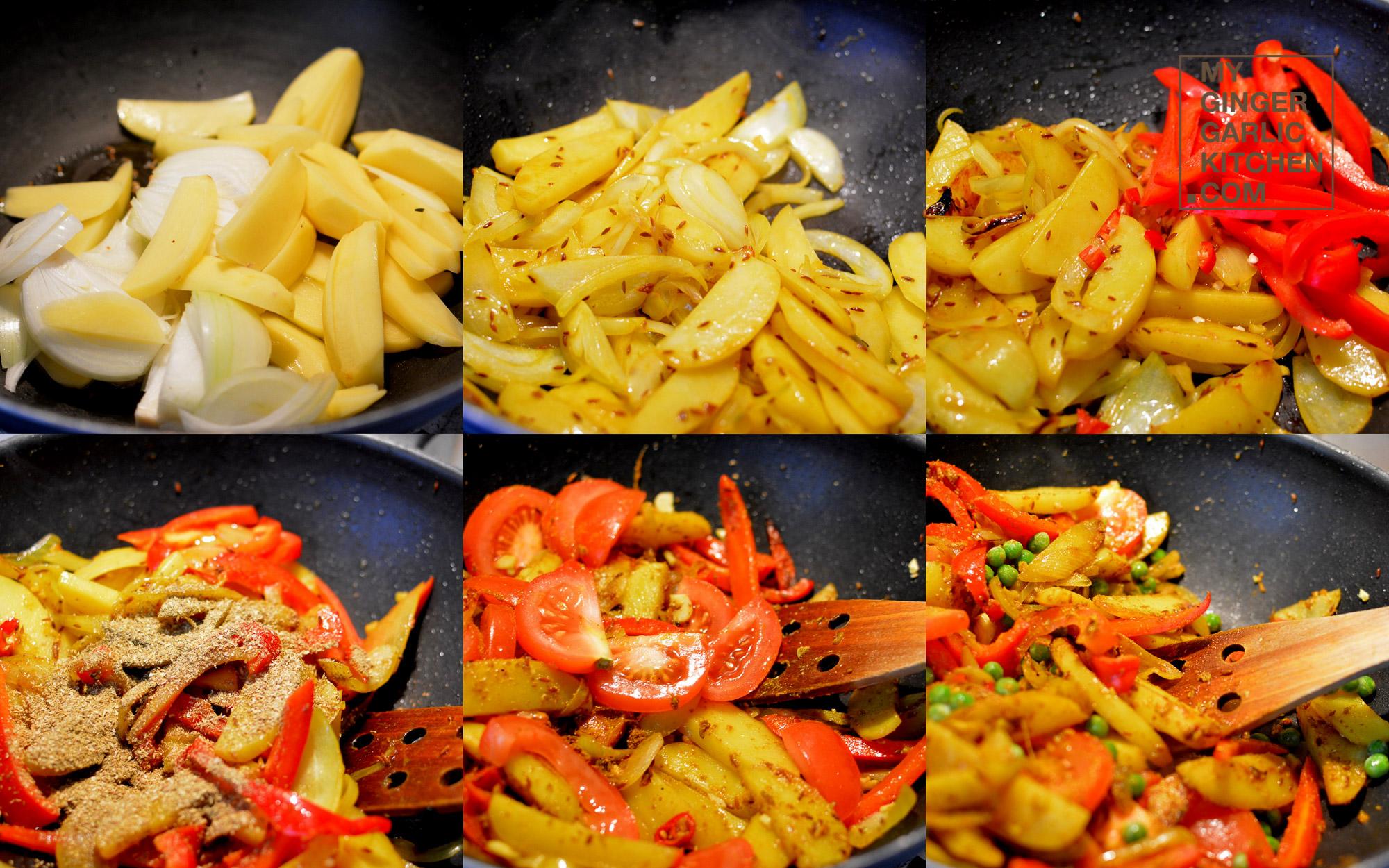 Image - recipe classic bellpepper potato peas stir fry anupama paliwal my ginger garlic kitchen 7