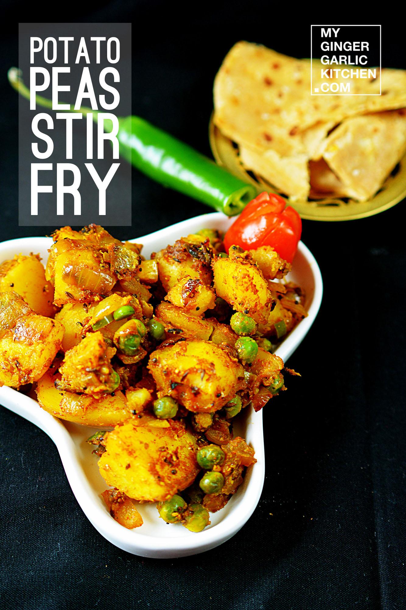 How To Make Aloo Matar Dry Sabji - Sookha Aloo Matar Recipe - Potato Peas Stir Fry