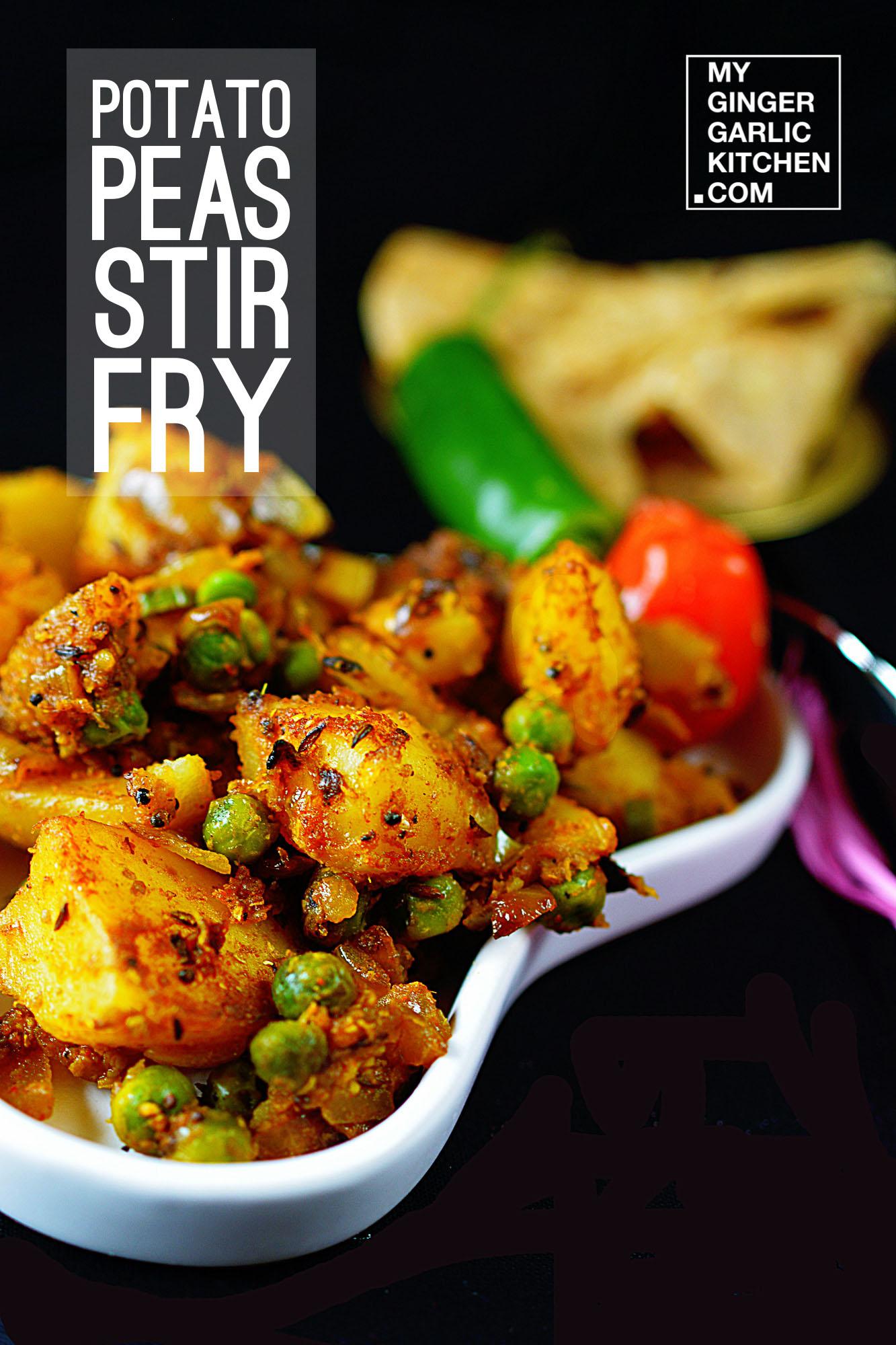 Potato Peas Stir Fry – Aloo Matar dry [Vegetarian-Recipe] - My ...