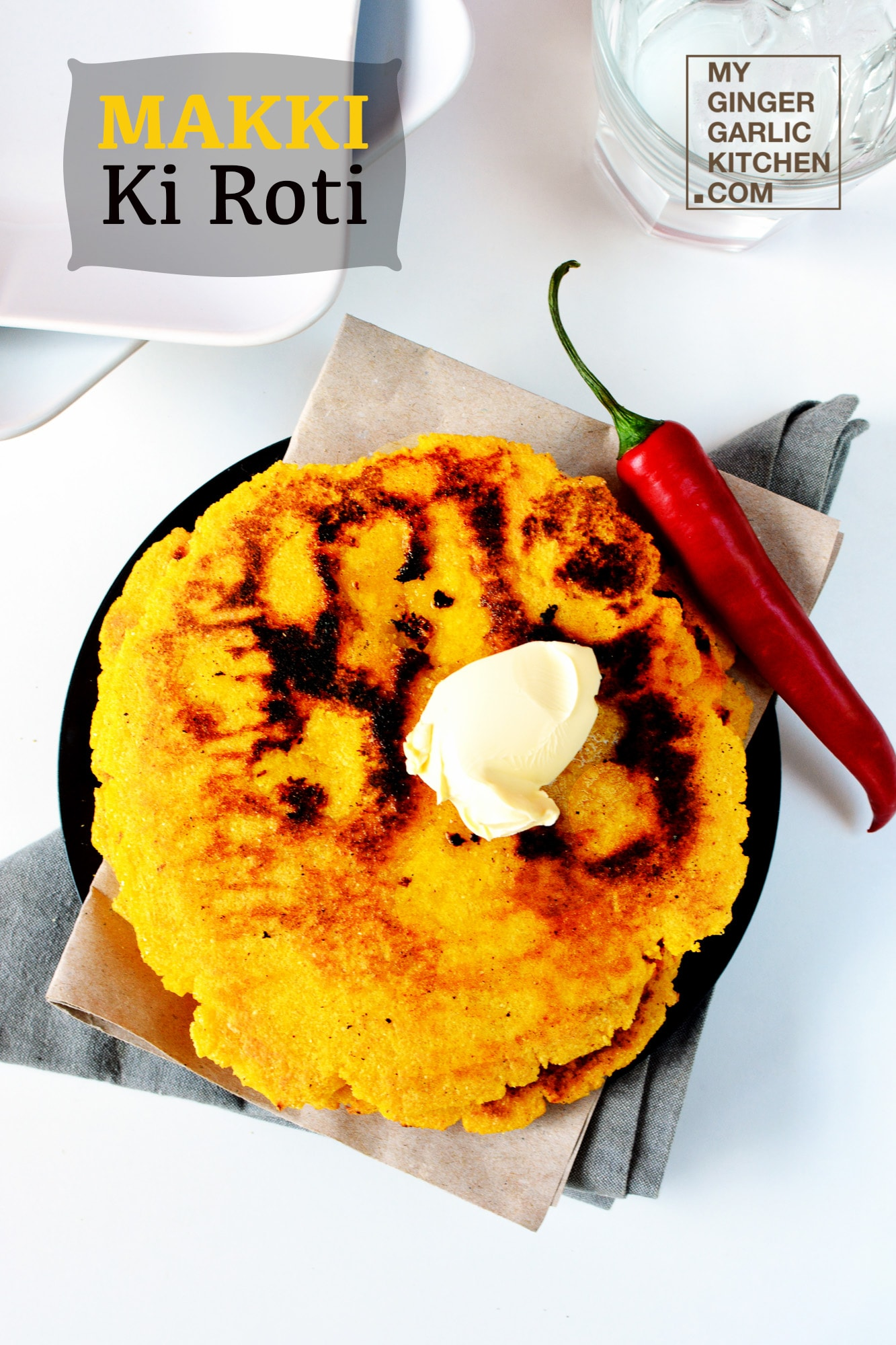 Image of Sunahari Makki Ki Roti - Golden Cornmeal Flatbread