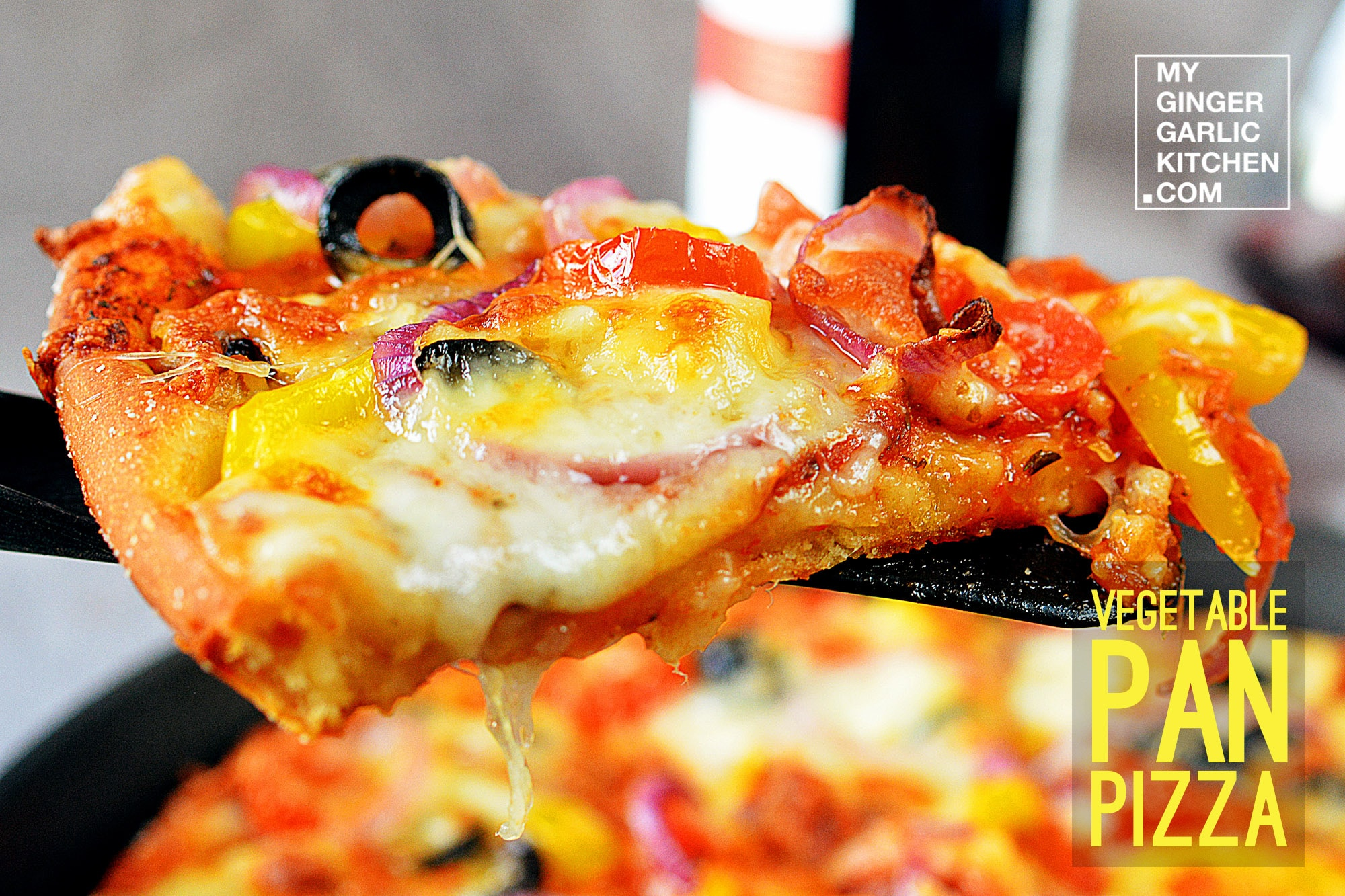 Image - recipe vegetable pan pizza anupama paliwal my ginger garlic kitchen 4 copy