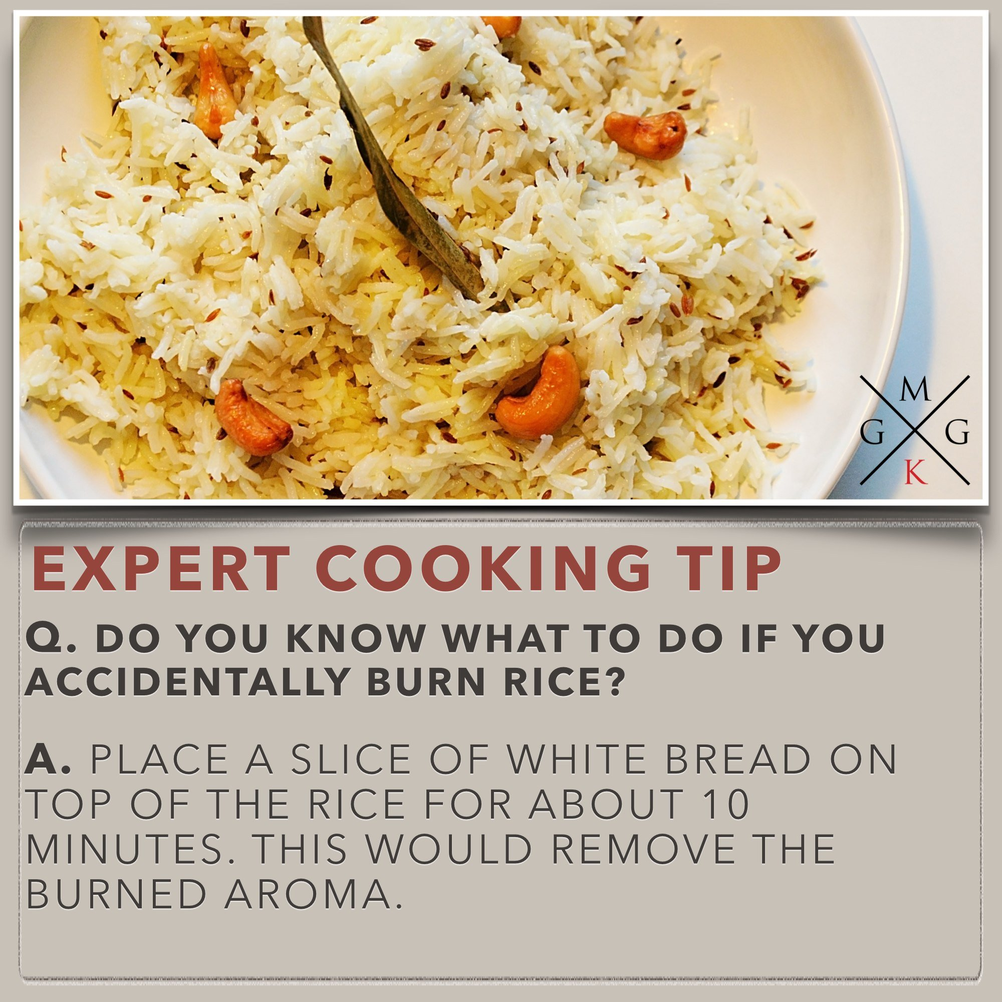 Cooking Tips - Do you know what to do if you accidentally burn rice [Cooking -Tips] - My Ginger Garlic Kitchen
