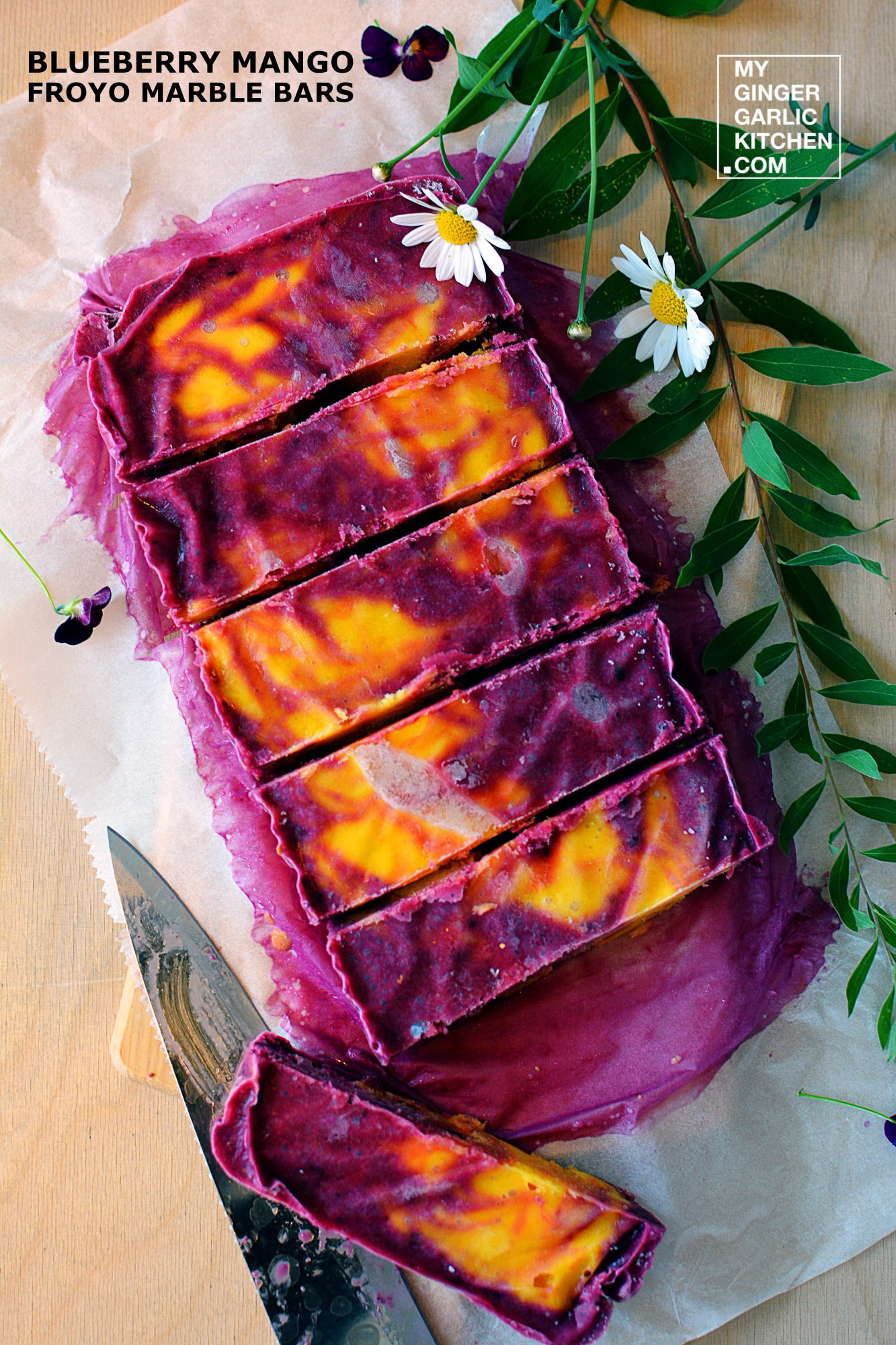 Image of Blueberry Mango Froyo Marble Bars [Summer-Recipe]